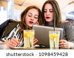 two young and trendy hipster...   Shutterstock . vector #1098459428