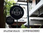 black sign outside a restaurant ... | Shutterstock . vector #1098460880