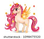 pony unicorn character with... | Shutterstock .eps vector #1098475520