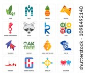 set of 16 simple editable icons ... | Shutterstock .eps vector #1098492140