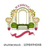 wedding arch on a white... | Shutterstock .eps vector #1098494048