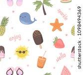 vector cartoon seamless pattern ... | Shutterstock .eps vector #1098494369