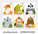 posters with animals. cartoon... | Shutterstock .eps vector #1098495200