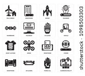 set of 16 simple editable icons ... | Shutterstock .eps vector #1098503303