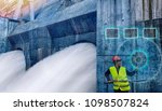 a woman worker is monitoring... | Shutterstock . vector #1098507824