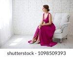beautiful woman in a burgundy... | Shutterstock . vector #1098509393