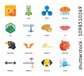set of 16 simple editable icons ... | Shutterstock .eps vector #1098510269