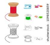thread reel  sewing machine ... | Shutterstock .eps vector #1098520859