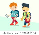 two boys with backpacks is... | Shutterstock .eps vector #1098522104
