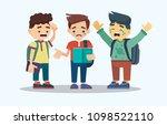 three upset boys with backpacks ...   Shutterstock .eps vector #1098522110