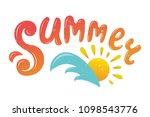 summer vector illustration. sun ... | Shutterstock .eps vector #1098543776