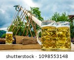 put up the maypole in bavaria...   Shutterstock . vector #1098553148