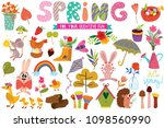 big set of spring hand drawn... | Shutterstock .eps vector #1098560990