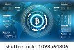 golden bitcoin cryprocurrency...   Shutterstock .eps vector #1098564806