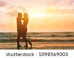 silhouette of romantic... | Shutterstock . vector #1098569003