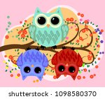 happy family of owls on... | Shutterstock . vector #1098580370