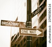 broadway and one way road sign... | Shutterstock . vector #1098580616