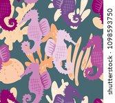 hand drawn vector seamless tile ... | Shutterstock .eps vector #1098593750