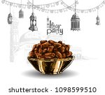 iftar party free hand drawing colorful sketch of arabian kurma with mosque, lantern, and ribbon background. Vector illustration holy month of ramadan