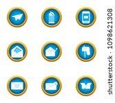 postal parcel icons set. flat... | Shutterstock .eps vector #1098621308