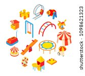 amusement park icons set in... | Shutterstock .eps vector #1098621323