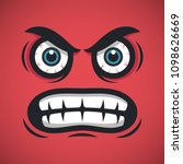 angry cartoon face. aggressive... | Shutterstock .eps vector #1098626669