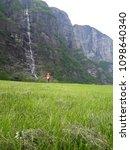 the norwegian fjord lyusebotn ... | Shutterstock . vector #1098640340