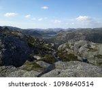 the norwegian fjord lyusebotn ... | Shutterstock . vector #1098640514