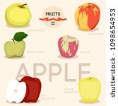 fresh apples fruits whole and... | Shutterstock .eps vector #1098654953