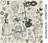 antique crazy doodles | Shutterstock .eps vector #109867208