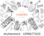 alcoholic cocktails hand drawn... | Shutterstock .eps vector #1098677633