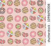 colorful and cute hand drawn... | Shutterstock .eps vector #1098690308