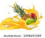 splash of ananas juice. mango ... | Shutterstock .eps vector #1098691589