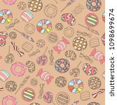 colorful and cute hand drawn... | Shutterstock .eps vector #1098699674