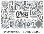 hand drawn chess doodle set.... | Shutterstock .eps vector #1098702353