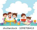 vector illustration of happy... | Shutterstock .eps vector #1098708413