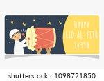 happy eid al fitr  muslim boy... | Shutterstock .eps vector #1098721850