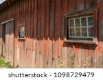 Old Wooden Red Barn  Door And...