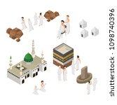 set of hajj illustration ... | Shutterstock .eps vector #1098740396