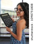beayutiful young doing math...   Shutterstock . vector #1098751808