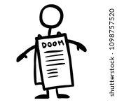 stick figure messages dooms day | Shutterstock .eps vector #1098757520