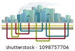 underground water pipe system... | Shutterstock .eps vector #1098757706