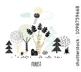forest sketch hand drawn.... | Shutterstock .eps vector #1098759668