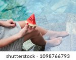summer background. girl with... | Shutterstock . vector #1098766793