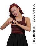 beautiful woman making a heart...   Shutterstock . vector #1098779570