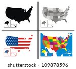 vector   usa maps collection | Shutterstock .eps vector #109878596