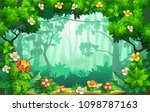 fantastic forest of flowers ... | Shutterstock .eps vector #1098787163