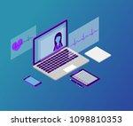 3d isometric telemedicine flat... | Shutterstock .eps vector #1098810353