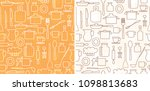 white and brown kitchenware on... | Shutterstock .eps vector #1098813683