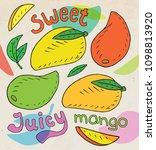 sweet juicy mango. summer... | Shutterstock .eps vector #1098813920